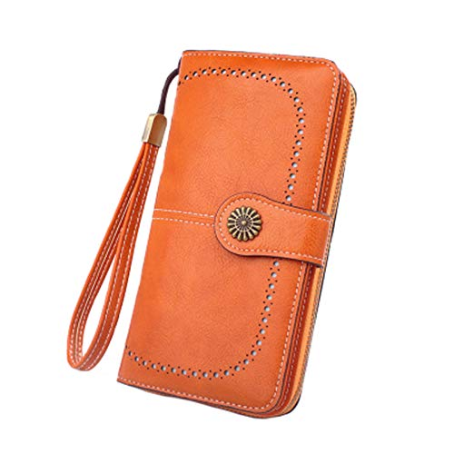 RFID Antimagnetic Wallet Ladies Wallet Wallet Large Capacity Clutch Oil Wax Leather Coin Purse Fashion Buckle Zipper Card Case (Orange2, 19*10*3cm)