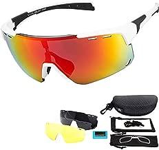 V VILISUN Cycling Sunglasses, Polarized Bike Glasses with 4 Interchangeable Lenses, Sports Glasses for Women and Men, Outdoor Windproof Eyewear, Baseball Running Fishing Golf