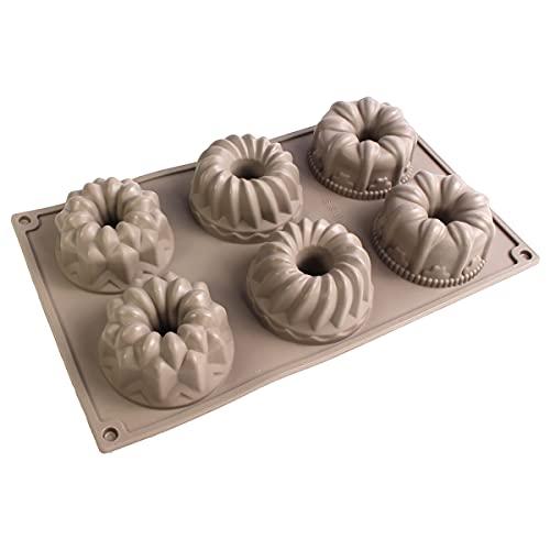 HANHAN Molde para 6 donuts de silicona, molde para tartas con 6 agujeros antiadherentes (molde de rosetas)