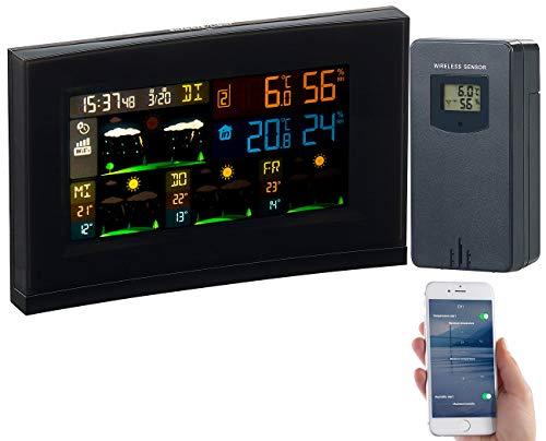 infactory Funkwetterstation: WLAN-Funk-Wetterstation mit Außensensor, Wettertrend & Datenlogger-App (Wetterstationen mit Farb Display)