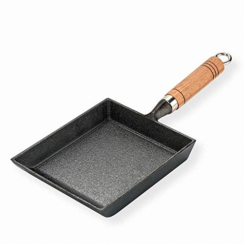 Iron Tamagoyaki Pan Cast Skillet Omelet Rolled Egg Pan Nonstick Frying Pans with Wooden Handle - Square Grill Pan with Meat, Vegetables or Go Camp Cooking. (A)