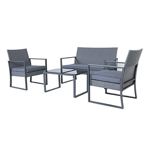 SVITA LOIS XL Poly Rattan Sitzgruppe Gartenmöbel Metall-Garnitur Bistro-Set Tisch Sessel grau - 3
