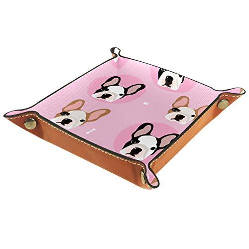 Amili - Bandeja de piel para guardar llaves, teléfono, monedas, relojes, etc., color rosa