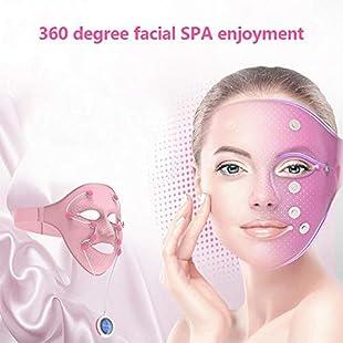 Facial Mask Instrument, Smart Facial Rejuvenation Detoxifying SPA Beauty Treatment Instrument Facial Care Massager Beauty Mask (Pink):Tourlombok-piranti