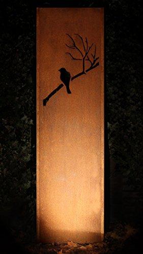 Gartenwand Sichtschutz Vogel rost Stahl 54x195 cm