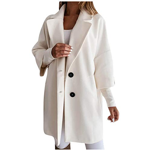Toimothcn Women Trench Coat Long Sleeve Pea Coat Lapel Open Front Long Jacket Overcoat Outwear Cardigan White