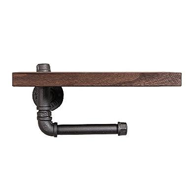 Find Joy Vintage Wood Metal Wall Mounted Bathroom Shelf Toilet Paper Holder Roll Holder