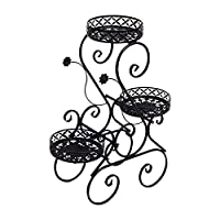 3-h supporto per vasi da fiori, porta piante in metallo scaffale porta-fiori per balcone giardino soggiorno (nero-3 tiered)