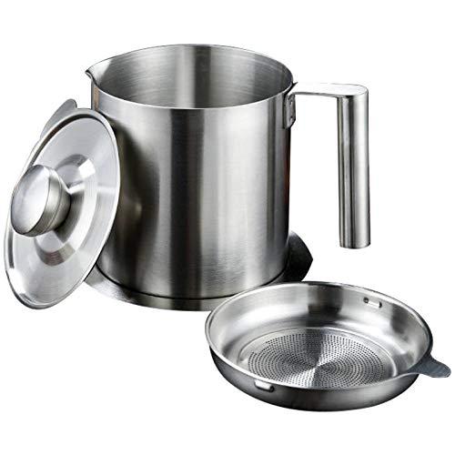 QAX Dispensador de grasa de acero inoxidable con filtro de malla fina y cubierta 4 en 1 para cocina, 1600 ml
