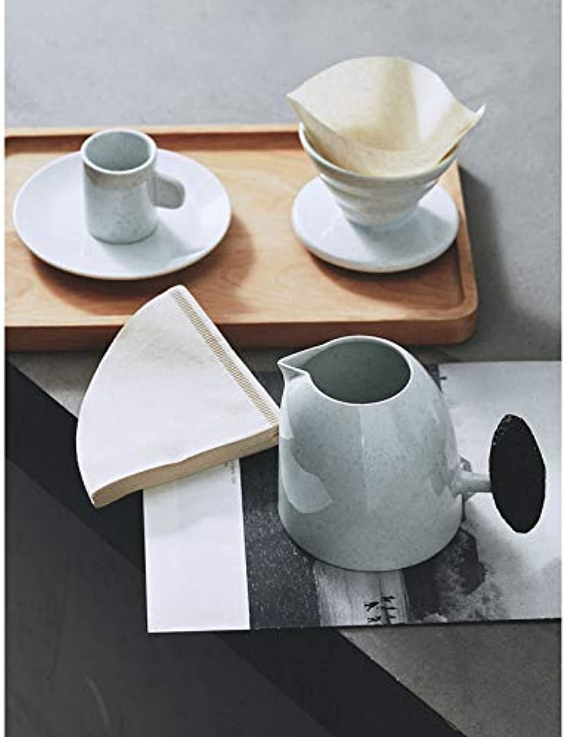 Njhswlti Japanese-Style Coffee Cup and Saucer Hand-Washed Coffee Pot Stonouveauare Filter Cup Condensed Cup Latte Nordic Creative Coffee Cup, a Set