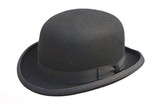 Chapeau melon 100% laine, noir avec doublure en satin, disponible en 4 tailles, fourni avec une plume amovible - Noir - XL