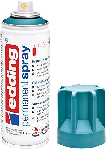 edding 5200 Permanent Spray - petrol matt - 200 ml - Acryllack zum Lackieren und Dekorieren von Glas, Metall, Holz, Keramik, Kunststoff, Leinwand - Lackspray, Acrylspray, Farbspray