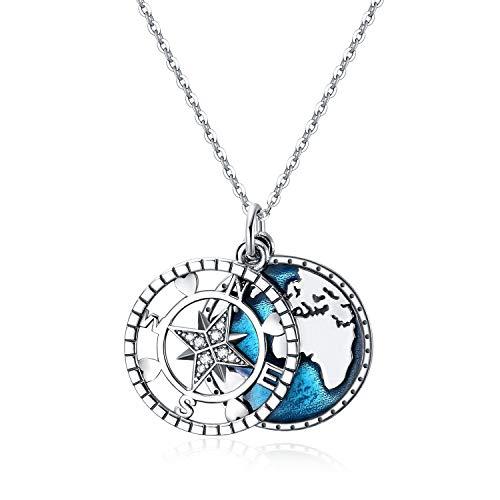 YFN Collar con Colgante de brújula, Collar con Mapa de Viaje de Ancla Azul Marino de Plata esterlina para Mujeres y Hombres (Collar de IR en la dirección de tu sueño)