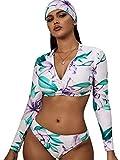 SheIn Women's Floral Zipper Long Sleeve Crop Top Bottom Bikini Set with Headband Medium Multicolored