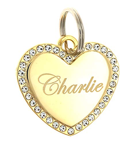 Custom Engraved Personalized Gold-Plated Medium Heart Rhinestones Pet Jewelry Cat Dog ID Tag for Casual Use