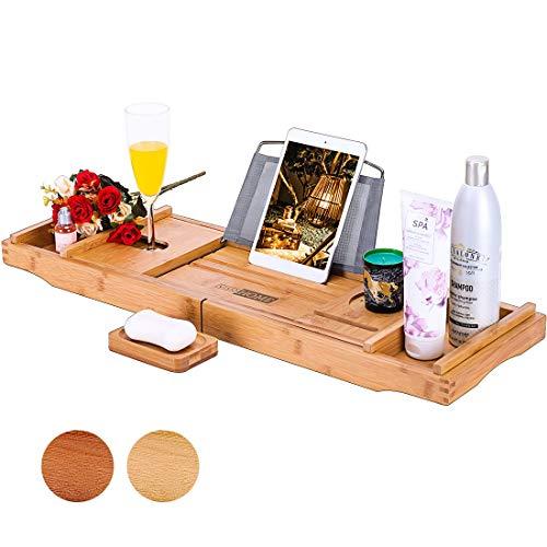 VIVOHOME Bandeja de bambú expandible para bañera con Organizador de baño con teléfono móvil, Tableta y Soporte para Libros de Vino