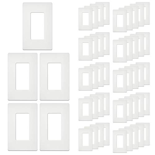 [50 Pack] BESTTEN 1-Gang Screwless Wall Plate, USWP4 White Series, Decorator Outlet Cover, H4.69