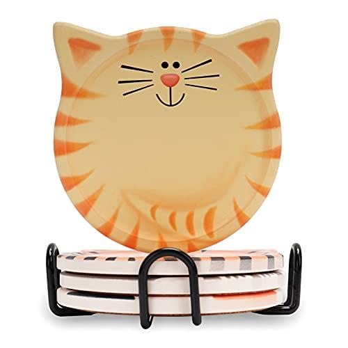 Set di 4 sottobicchieri in ceramica a forma di gatto, con base in sughero antiscivolo, con supporto in metallo, per casa, bar, ristorante, cucina