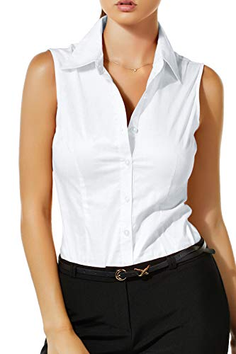 LE3NO Womens Lightweight Cotton Sleeveless Button Down Shirt White