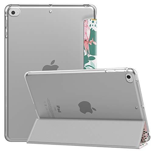 MoKo Schützhülle Kompatibel mit New iPad Mini 5 2019 (5th Generation 7.9 inch) - Auto Schlaf/Aufwach Intelligente Hülle mit Translucent Rückseite Standfunktion Cover - Papageienbaum