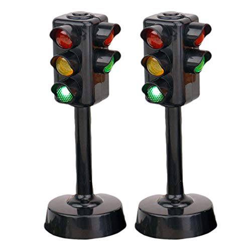 NUOBESTY Kids Traffic Light Toy Traffic Signal Light Model Toys Early Education Playset for Kids Toddler, Pack of 2