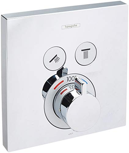 hansgrohe ShowerSelect Modern Minimalist Auto Temperature Control 1-Handle 6-inch Wide Thermostatic Shower Trim for Rough-in Valve with Diverter in Chrome, 15763001