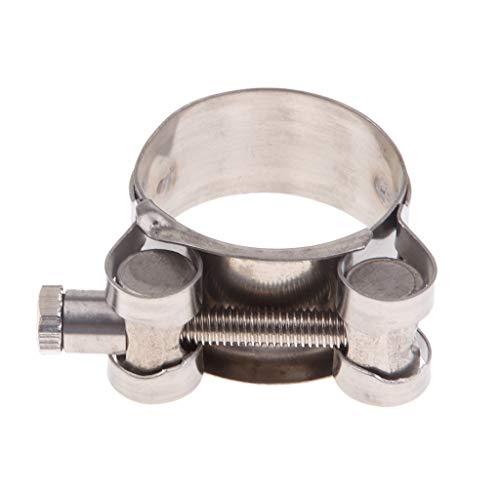 Clip de Abrazadera de Escape de Tubo de Silenciador Soporte de Acero Resistente Partes de Moto - Color plata 32-35mm