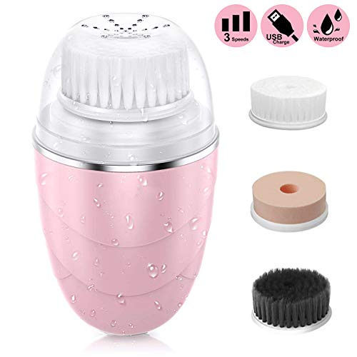 Updated 2020 Version Facial Cleansing Brush,Waterproof Rechargeable Soft Face Cleanser Brush with 2Modes, 3 Brush Heads for for Deep Cleansing,Remover Makeup,Gentle Exfoliating