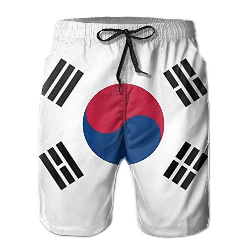 De Zuid-Koreaanse vlag Casual Cool 3D Print Ultra-Licht Mannen Zomer Surfen Snel Drogen Zwemmen Trunks Beach Shorts Strand Broek met Pocket