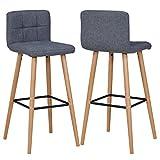 2X Barhocker Barstuhl aus Stoff Leinen Drehstuhl Gestell aus Buche Tresenhocker Bar Sessel gut gepolstert mit Lehne Farbauswahl Duhome 5117A, Farbe:Grau, Material:Stoff