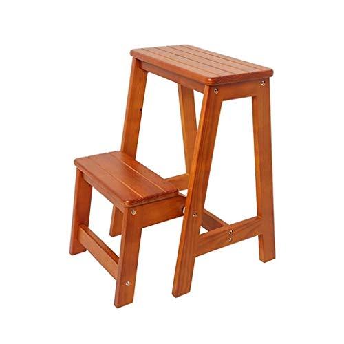Alvnd Trapladder van massief hout, met dubbele gebruiksdoeleinden, draagbare ladderstoel, inklapbare trapladder van hout, voor de keuken in de badkamer, kleur honing/kleur zwart walnoot/kleur geel walnoot
