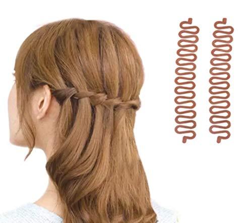 2 Stück biegsame Flechthilfen für Französischen Zopf - klein & handlcih für professionelle Frisuren, ideal für Schule, Ausbildung oder Büro (BRAUN)