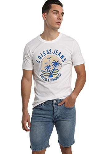 LOIS JEANS - Camiseta Gráfica con Estampado para Hombre   De Algodón   Tallaje en Pulgadas   Talla Inch