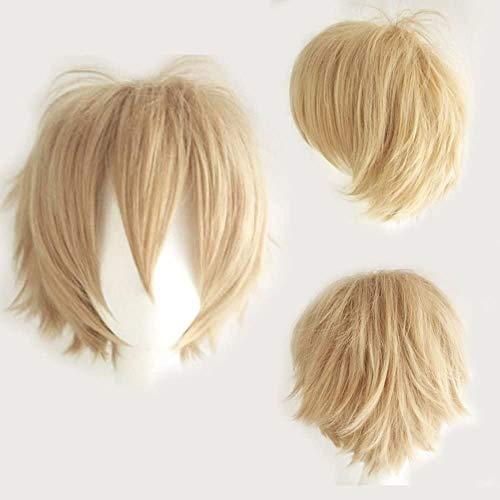 Kurze blonde Perücke Fluffy glattes Haar Unisexabendkleid-Partei-Perücken Kostüm Halloween