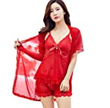 Cosplay Lencería Sexy Sexy Uniforme Lencería 3 Pieces Pyjamas Set Large Size Mesh Lace Nightwear Home Pajamas Sets-3_Pieces_Red_XL
