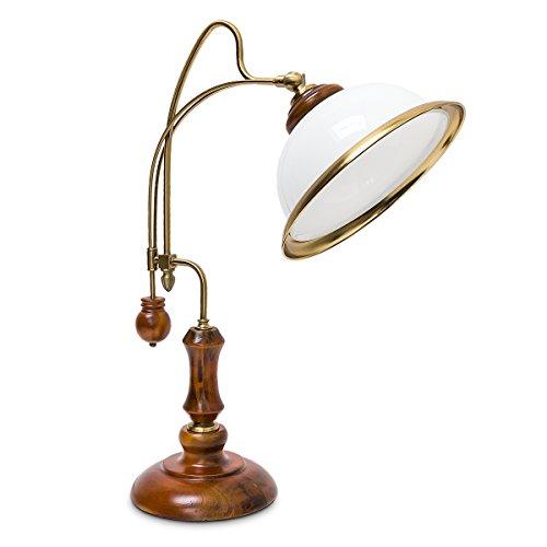 Relaxdays tafellamp jeugdstijl glazen scherm houten voet hoogwaardig versierd, E27