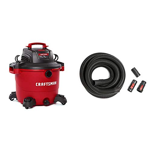 CRAFTSMAN CMXEVBE17595 16 Gallon 6.5 Peak HP Wet/Dry Vac, Heavy-Duty Shop Vacuum with Attachments & CMXZVBE38759 2-1/2 in. by 20 ft. POS-I-Lock Wet Dry Shop Vacuum Hose Kit