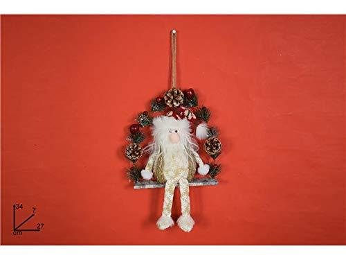 1 PZ Gnomo di Natale 34 CM su Altalena Decoro Fiocco di Neve Oro