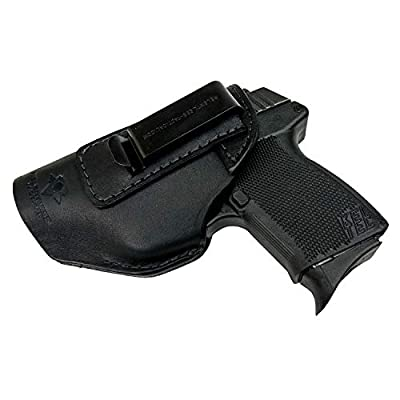 Relentless Tactical he Defender Leather IWB Holster - Made in USA - Fits Glock 42 & 43 | Sig P365 | Ruger LC9, LC9s | Kahr CM9, MK9, P9 | Springfield Hellcat and More - Black Right Handed