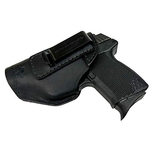 Relentless Tactical he Defender Leather IWB Holster - Made in USA - Fits Glock 42 | Sig P365 | Ruger LC9, LC9s | Kahr CM9, MK9, P9 | Springfield Hellcat and More - Black Right Handed