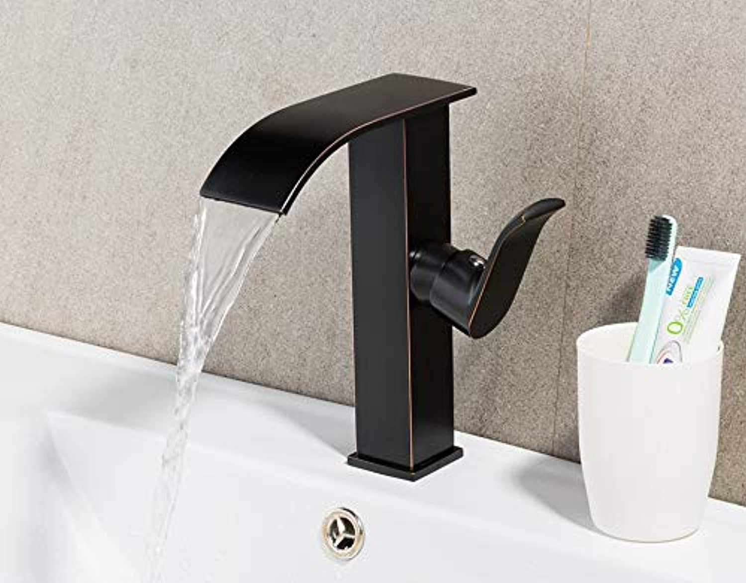 Brass Single Handle Black Basin Faucet Deck Mounted Countertop Bathroom Basin Sink Mixers Hot and Cold Water Tap
