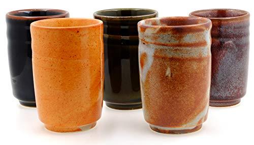 GOTO - Vasos de té de gres, mezcla rústica, 6 unidades, japonés