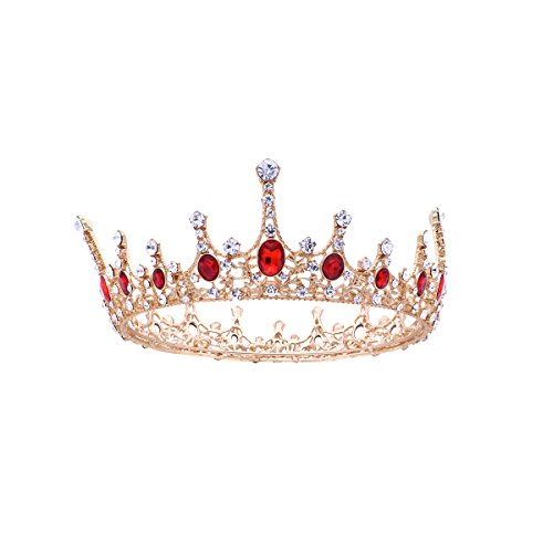 Tiara de coroa de princesa rainha da Frcolor, tiara vintage de pedra rubi com strass para noiva e dama de honra, cerimônia de casamento, avanete (vermelho rubi)