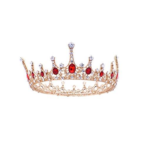 Frcolor Königin Kronen, Strass Barock Vintage Hochzeit Tiara und Kronen (rot)