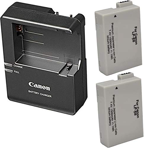 Canon LC-E8 Charger for Canon LP-E8 Li-ion Battery compatible with Canon EOS Rebel T2i, T3i, T4i, T5i, EOS 550D, EOS 600D, EOS 650D, EOS 700D DSLR Digital Camera + 2 Bonus Battery!