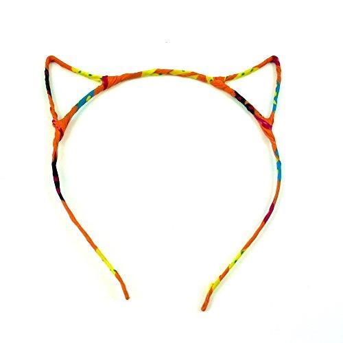 rougecaramel - Accessoires cheveux - Serre tête oreille de chat - orange multicolore