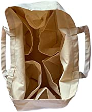 """Eco friendly Reusable 3 pack 100% Natural Cotton Grocery Shopping Bag – Spacious large bag with smart compartments and shoulder handles – Strong and Durable Canvas Tote Shopping Bags - Washable and Easy care Shopping bag for daily use (16""""X14""""X7"""" OR 40.5cmX35cmX17cm)"""
