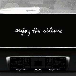 GreenIT Schriftzug Enjoy The Silence Aufkleber Tattoo die Cut car Decal Auto Heck Deko Folie Depeche Mode (weiß)