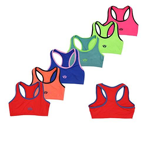Gloop Bustier - Juego de 6 bustier para niña, diseño clásico, sin costuras, ropa interior H.Azul + rojo + rosa + amarillo + azul + verde 14-18 años