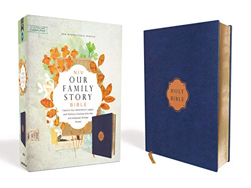 NIV, Our Family Story Bible, Leathersoft over Board, Navy, Red Letter, Comfort Print: Capture Your Generation's Legacy with Memory-Creating Activities and Keepsake Storage Pocket